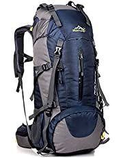 COUTUDI Backpack Hiking Travel Rucksack Trekking for Girs Women Men, Waterproof Nylon Daypack with Rain Cover 50L