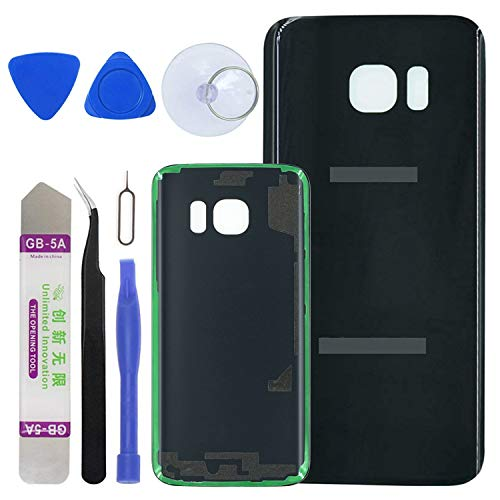 LUVSS [Extra Adhesive Back Glass Replacement Samsung Galaxy S7 G930 (All Carriers) Rear Cover Glass Panel Case Housing Opening Tools Kit (Black)