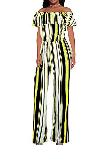 HyBrid & Company Women High Waist Wide Leg Pants Jumpsuit Romper-KPVJ47696-10740-NEONYELLOW-L