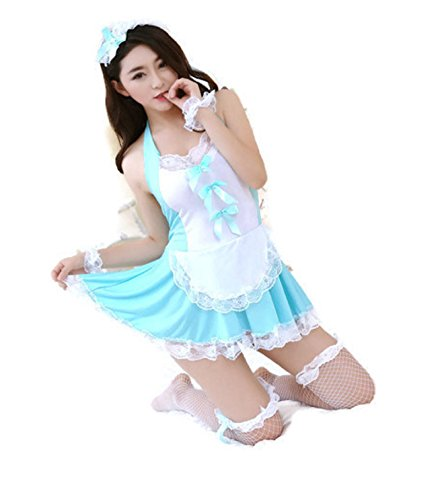 [NEW! Sexy Women's Costume Cosplay French Maid Princess Outfit Fancy Dress Hot (Freesize, Blue)] (Cheap Indiana Jones Costumes)