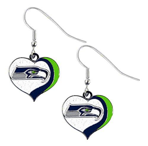 - aminco NFL Seattle Seahawks Women's Sports Team Logo Swirl Heart Glitter Earring Set, One Size, Multicolor