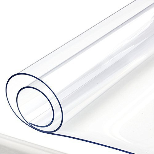 Clear Plastic Table Protector PVC Tablecloth Cover Vinyl Table Cloths Easy Clean Waterproof Wipeable Furniture Topper Pad for Dining Living Room Coffee Tables Mat Desk Pad Rectangle 18 x 48 Inch
