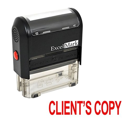 - ExcelMark Clients Copy Self Inking Rubber Stamp - Red Ink (A1539)