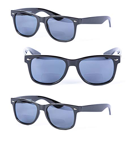 Adult Sunglasses Outdoor (3 Pair of Bifocal Reading Sunglasses for Men and Women - Outdoor Sun Reading Glasses (Black, 1.75))