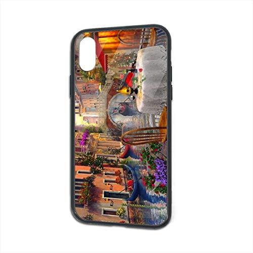 Compatible for iPhone Xs/X Case, Novel Rue Di Rivoli Paris Prints Soft & Flexible TPU Ultra-Thin Shockproof Cover, Cases iPhone X/iPhone ()