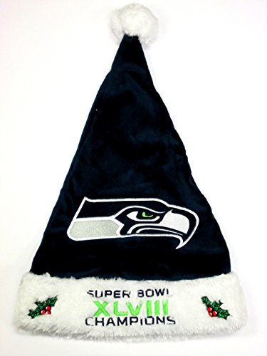 NFL Seattle Seahawks Super Bowl XLVIII Champions Santa Hat, Green -