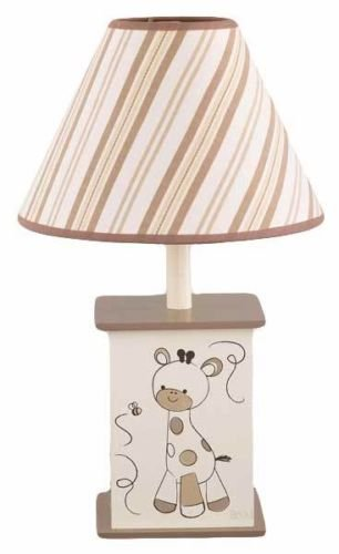 Beige and Brown Striped Giraffe Lamp