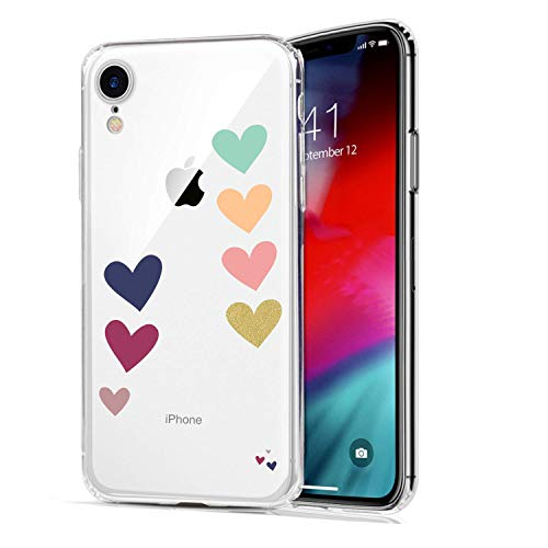 HUIYCUU Case Compatible with iPhone XR Case, Colorful Loving Heart Design Print Shockproof Soft Protective Back Case for Girl Women Cute Floral Pattern Clear Novelty Bumper Cover for iPhone Xr 9