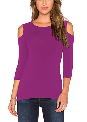 Mippo Women's Sexy Slim Fit Stretchy Off Shoulder Shirt Workout Yoga Cold Shoulder Sweatershirt Cut Out Loose Casual Blouse Tops Spring Out for Juniors Purple Red Fuchsia XL