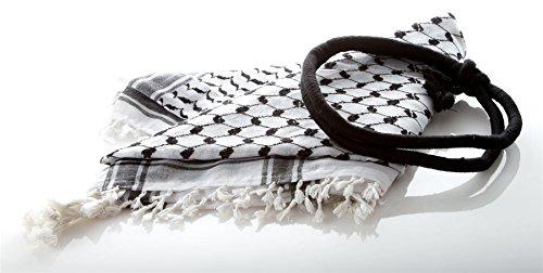[Fashion Arab Shemagh Keffiyeh Scarf with Headband Shawl Kafiya Wrap 60% Cotton] (Ethnic Dance Costume)