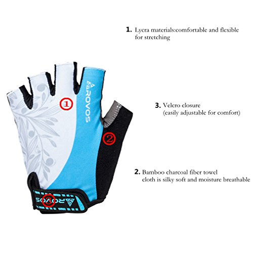 Biking Gloves Half Finger Padded Breathable Sports Biking Gloves for Women(Columbia Blue,Large) by Rovos (Image #2)