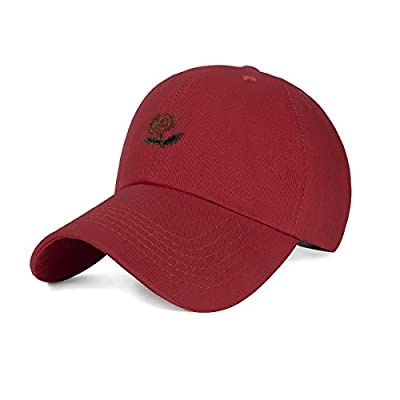 CHOSUR Rose Embroidered Dad Hat Adjustable Plain Baseball Cap Multiple Colors Men Women Hats by CHOSUR