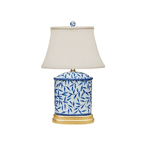Blue and White Bamboo Floral Porcelain Oval Vase Table Lamp - Bamboo Table Porcelain Lamp