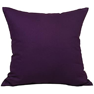 TangDepot Cotton Canvas Throw Pillow Cover -  Handmade - Many Colors Avaliable (20 x20 , Purple)