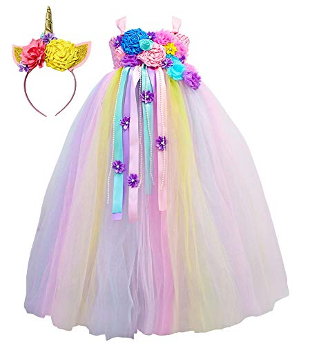 Unicorn Dress Up Costume Baby Girls First Birthday Cake Smash Tutu Dress Photo Shoot (Pastel Pink, S(1-2T)) -