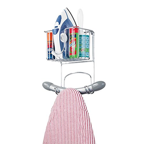 mDesign Wall Mount Ironing Center with Small Basket and Ironing Board Hooks – Chrome