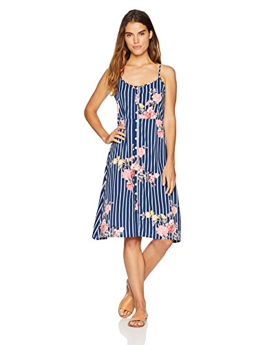 (Wild Oasis Beachwear Women's Bodice Floral Printed Tank Dress with Button Detailing & Spaghetti Straps Large Blue )