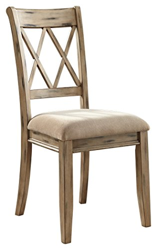 Ashley Furniture Signature Design - Mestler Dining Side Chair - Upholstered Seat - Set of 2 - Antique White - Distressed Dining Room Furniture