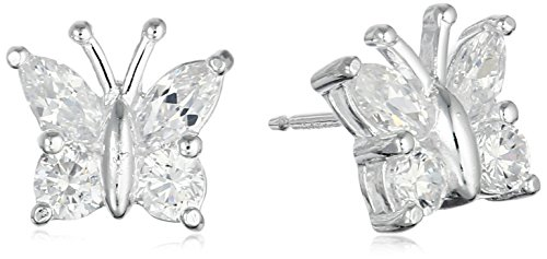 Sterling Silver Cubic Zirconia Butterfly Stud Earrings (Zirconia Stud Cubic Marquise)