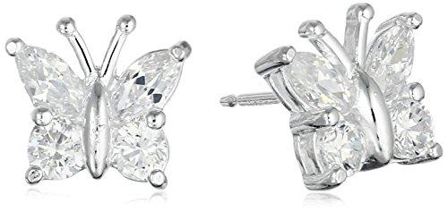 - Sterling Silver Cubic Zirconia Butterfly Stud Earrings