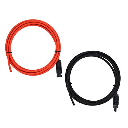 1 Pair Black + Red 12AWG(4mm²) Solar Cable MC4 Solar Adaptor Cable Solar Panel Extension Cable Wire MC4 Connector Solar Extension Cable with MC4 Female and Male Connectors (10FT-1D) ()