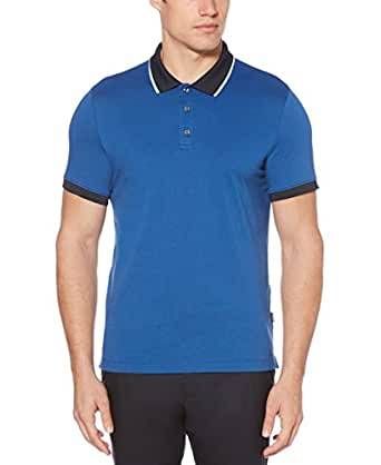 Perry Ellis Mens 4DSK7173 Dipped Collar Pima Cotton Polo Short Sleeve Polo Shirt - Blue - Small