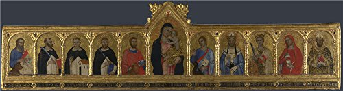 'Andrea Di Bonaiuto Da Firenze The Virgin And Child With Ten Saints ' Oil Painting, 12 X 45 Inch / 30 X 115 Cm ,printed On Perfect Effect Canvas ,this Reproductions Art Decorative Canvas Prints Is Perfectly Suitalbe For Kids Room Artwork And Home Decoration And Gifts