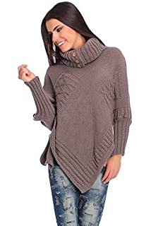 Top Woman Thick Heavy Poncho Jersey Turtleneck Warm Jumper Sweater Size 8-14