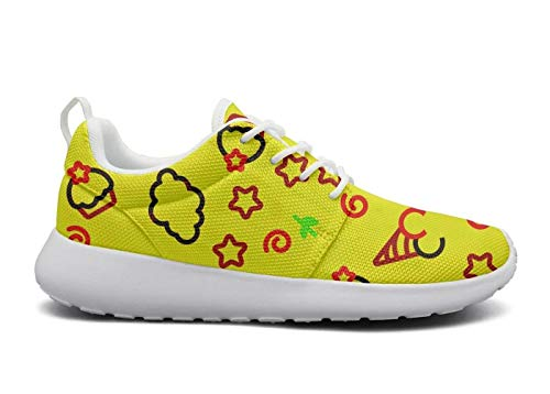 DEEEWKF ice cream cake Bow five-pointed star yellow Mens 2018 Ultra Lighweight Running Shoes Athletic