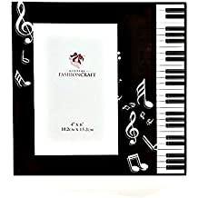BLACK & WHITE Beveled Glass MUSIC Theme Picture Frame - PIANO KEYBOARD - NOTES - G Clef RECITAL Photo Holder- GIFT - KEEPSAKE Boxed