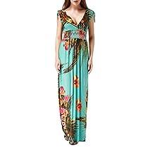 Wantdo Womens Boho Maxi Dress Floral Printing Long Dress Plus Size