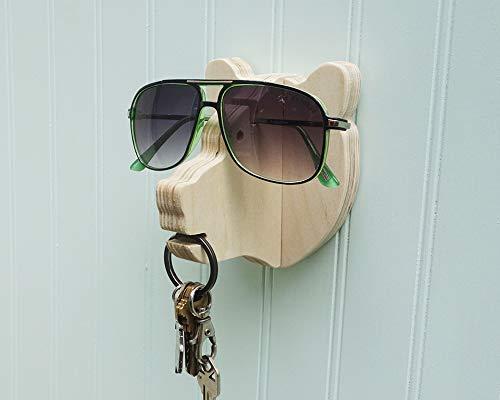 - Bear head wall hanger for keys & glasses - next-to-door organizer for keys, glasses, sunglasses