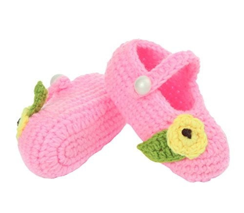 Smile YKK Strickschuh Strick Schuh Baby Unisex süße Muster One Size 11cm Blüte Pink A