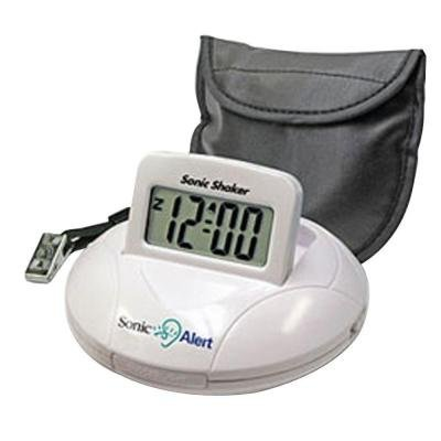 Sonic Bomb Digital Travel Alarm Clock with Sonic Shaker Bed Vibrating Feature, 90 DB Extra-Loud Alarm, Bonus FREE Travel Case with Pillow Strap & Batteries Included (Shaking Alarm)