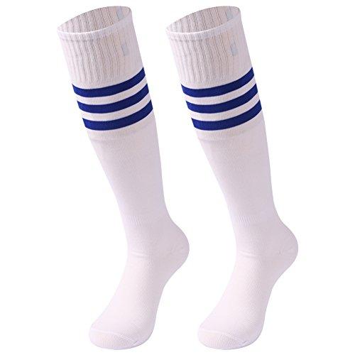 (Knee High Socks Men, saounisi Football Volleyball Soccer Athletic Sports Tube Long Team Socks Crazy Cute 2 Pairs Navy Stripe)