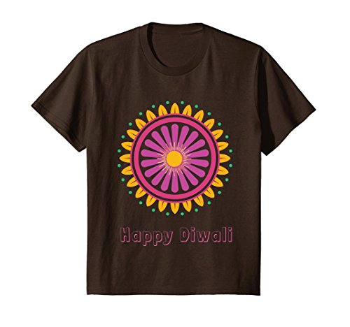 Kids Divine Light Happy Diwali Festival of Lights Tee Shirt 6 Brown by Diwali Holiday Shirt