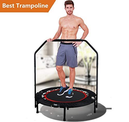 "Jaketen 40"" Foldable Rebounder Trampoline with Adjustable Handle Indoor Exercise Fitness Mini Trampoline for Adults or Kids (Black- Leg Can't Adjust.)"