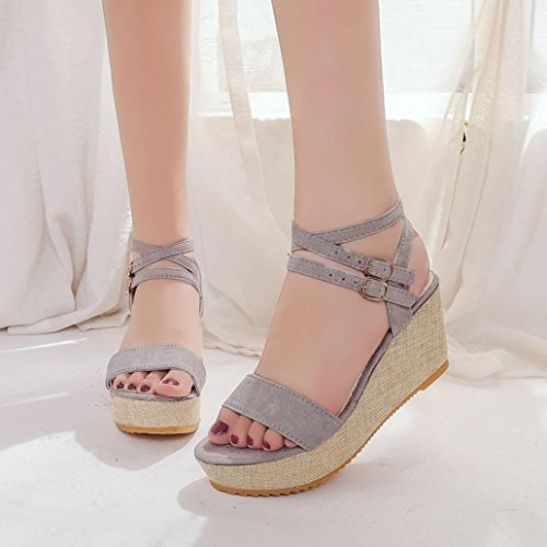 Hemlock Lady Slope Sandals Loafers Shoes High Wedge Sandals (US:6.5, Grey-2)