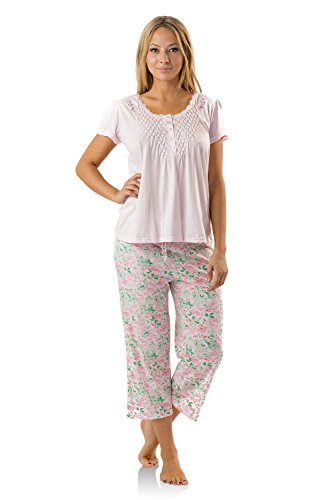 Flower Capri Set - Casual Nights Women's Short Sleeve Capri Pajama Set - Flower/Pink - Medium