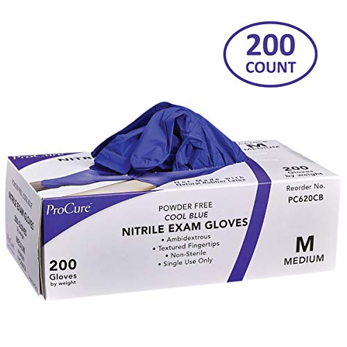 ProCure Disposable Nitrile Gloves - Powder Free, Rubber Latex Free, Medical Exam Grade, Non Sterile, Ambidextrous - Soft with Textured Tips - Cool Blue (Medium, 1 Pack, 200 Count)
