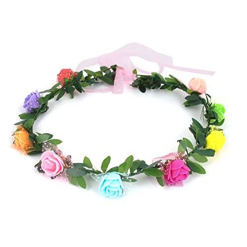 uxcell Wedding Decor Lady Wreath Crown Hair Flower Party Multicolor Headdress AvpwR