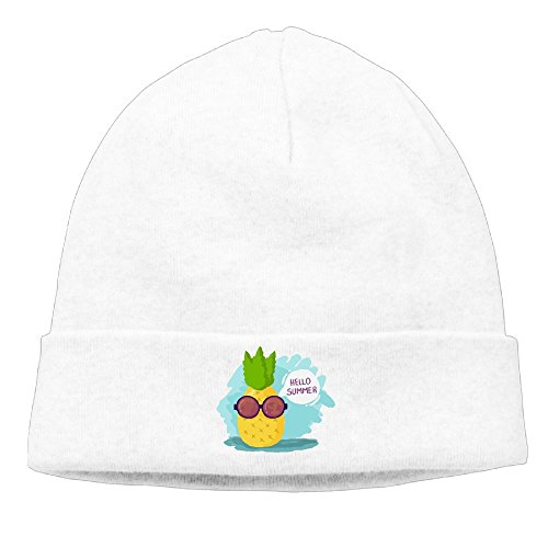 Sincerity-First Mens&Womens Hello Summer Pineapple With Sunglasses Outdoor Daily Beanie Hat Skull Cap - Guys On White Sunglasses