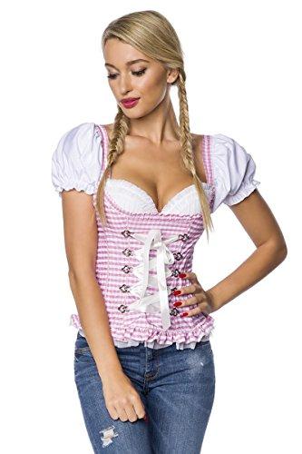 DIRNDLINE Trachtenmieder mit eingearbeiteten Push-up Cups und Rüschenbesatz - mit Zierschnürung und Puffärmelchen - A7O031, Größe:36;Farbe:rosa