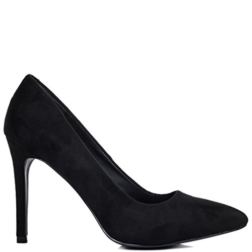 SPYLOVEBUY JOYCE Women's High Heel Stiletto Court Shoes Black Suede Style pxRjWVPy