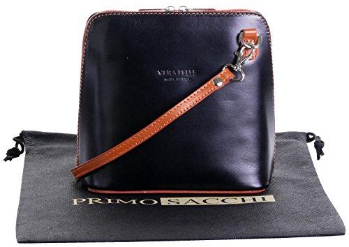 (Italian Leather, Black and Tan Small/Micro Cross Body Bag or Shoulder Bag Handbag. Includes Branded a Protective Storage Bag.)