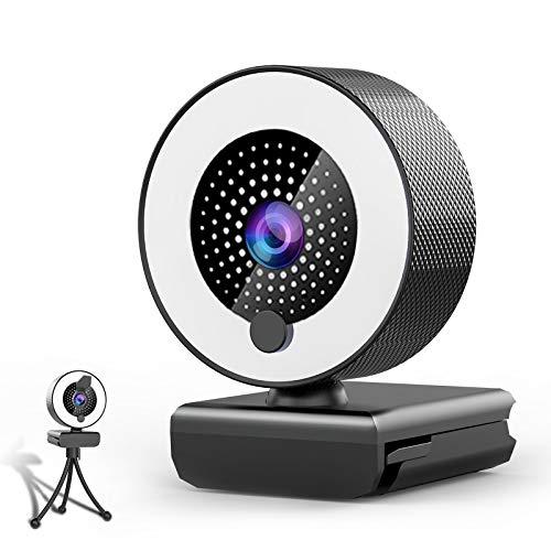 🥇 Webcam con Microfono y Luz Anular-MHDYT 2K HD Web CAM con Tapa y Tripode para PC/Mac/Ordenador Portatil/Sobremesa
