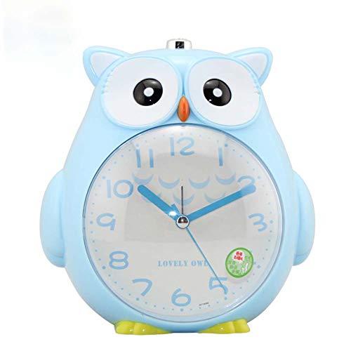 (Leoie 4 Inches Cute Cartoon Owl Shape Alarm Clock Silent Night Light Student Kids Alarm Clock Blue)