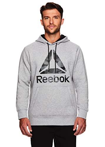 Reebok Men's Performance Pullover Hoodie - Graphic Hooded Activewear Sweatshirt - Luxe Grey, Small