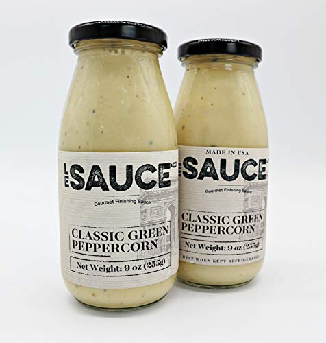 Le Sauce Gourmet Classic Green Peppercorn Finishing Sauce, great on steak, fillet, pork chops, vegetables, foodie verified (2-Pack)