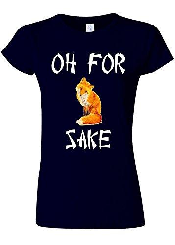 熟読する休憩咽頭Oh For Fox Sake Funny Novelty Navy Women T Shirt Top-XXL